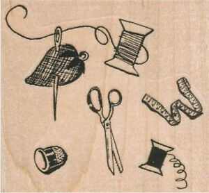 Sewing Background Rubber Stamp NEW #12648 $6.05