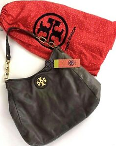 Tory Burch City Hobo Shoulder Bag Purse Gray Metallic Gold 32119604 Dust Bag