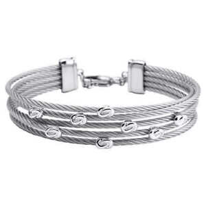 STERLING SILVER BANGLE BRACELET Stainless Steel Cables Adjustable
