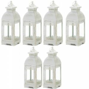 Lot of 6 LACE 13in Distressed White Lantern Candleholder Wedding centerpieces