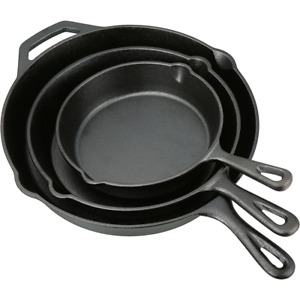 Cast Iron Skillet Set 3 Piece Superior Cooking Surface Durable Cast Iron