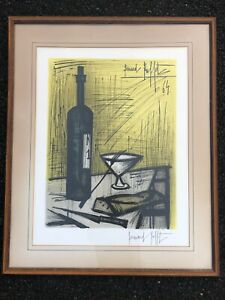 BERNARD BUFFET Pencil Signed quot;Bread amp; Winequot; OrigInal Large Framed Lithograph MCM $850.00