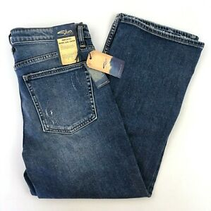 Silver Jeans Co Wide Leg Crop Jeans Womens 30 x 25 ACTUAL 32 x 25 Distressed New