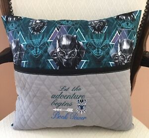 Black Panther Pocket Pillow. Reading Book Pillow. 16quot;X16quot; Embroidered Pillow.