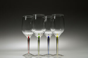 2 Sets of Wine Glasses with Multi-Colored Stems