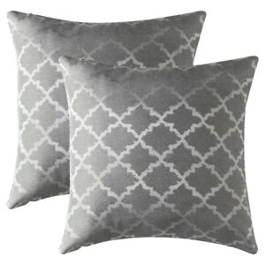 Set of 2 Jacquard Geometric Throw Pillow Case Sofa Waist Cushion Cover Home Deco