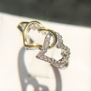 Silver Color Filled Gold Wedding Engagement Two Hearts Shape Delicate Ring WA