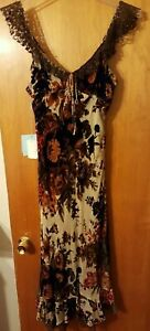 FIORI di ZUCCA Vintage Designer evening dress Silk Panne GORGEOUS