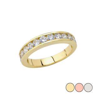 Solid Gold Men's Wedding Band Ring With CZ  14K (YellowRoseWhite)