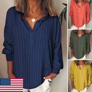 Womens Summer Striped V Neck Blouses Loose Baggy Tops Tunic T Shirts