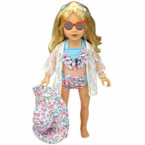 1 Set Hat Swimwear Bathing Suit Clothes For 18 Inch Accessories Doll Toy Q1S0