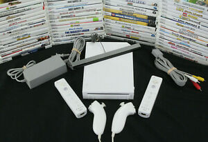 Nintendo Wii White Console with 2 Sets of Controllers & 2 Games Tested Working!