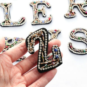 Sticker Sew On Clothing Accessories English Alphabet Hotfix Rhinestone Patches