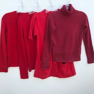 Lot of 4 100% Cashmere Sweaters 1+Lbs Red Cutter Craft Upcycle Repurpose