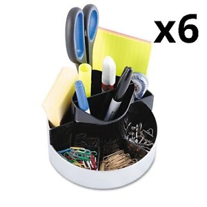 Rotating Desk Organizer, Plastic, 6 x 5 3 4 x 4 1 2, Black Silver, Pack of 6