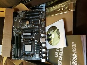 Gigabyte GA-970A-DS3P, AM3+, AMD Motherboard WITH CPU RAM BOX BACKPLATE