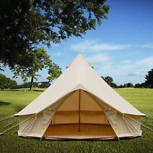 4 Season Bell Tent 3 4 5 6M Waterproof Cotton Canvas Glamping Camping Beach US