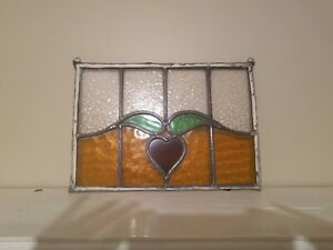 ANTIQUE LEAD Vintage Stained Glass Heart  TRANSOM WINDOW. Very old.