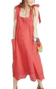 Hatch Maternity Women's THE SYLVIE DRESS Red Cotton Size 1 (S/4-6) NEW