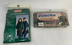 Set Of 2 ADULT & Youth Thick Rain Camo Poncho Waterproof Camping Hunting Fishing