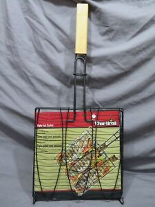 Brand New in Package Char Broil Triple Fish Basket Non-Stick ~ Bamboo Handle
