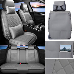 Grey 5-Seats Car Seat Cover Protector+Cushions Front & Rear Full Set+Headest