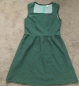Merona Green And Navy Stripe Fit And Flare Dress Medium EUC