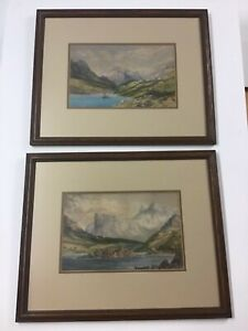 Pair Antique Landscape Watercolors Identically Framed $269.00