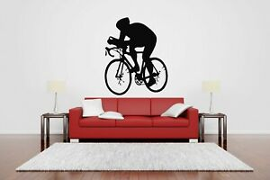 Wall Sticker Bike Racer Bicycle Race Wheels Sport Vinyl Mural Decal Decor ZX894