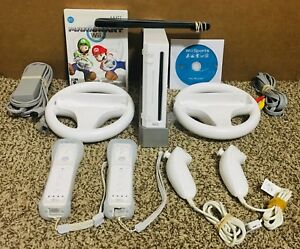 Nintendo Wii Console System Bundle - Mario Kart Wii Sports Wheels 2 Controllers