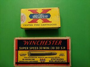 Lot of 2 OLD EMPTY AMMUNITION BOXES- WESTERN & WINCHESTER