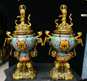25 Mark Cloisonne Enamel Guanyin Dragon Phoenix Incense Burner Censer Pair