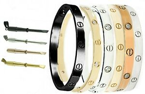Men's Women Screwdriver Screw  Steel  Bangle Bracelet Silver Gold Black Rose
