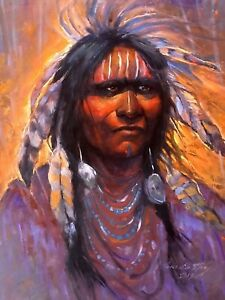 Sioux Native American Indian Warrior Traditional Western Original Oil SCOTTSDALE