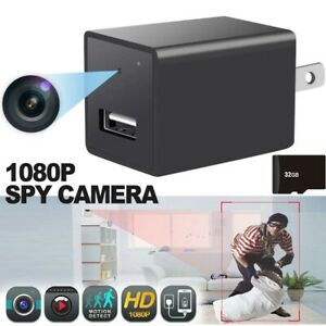 HD 1080P Hidden Camera USB AC Charger Adapter Security Recorder Video Cam 32GB