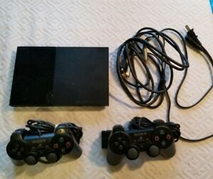 Sony PlayStation 2 PS2 Slim Black Console SCPH-90001 w/ cords and 2 controllers