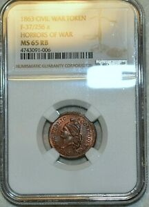 NGC MS-65 RB 1863 Horrors of War/Public Accom. Civil War Token, F-37/256a!