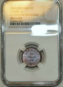 NGC MS-64 BN 1863 G. Parsons Fireworks Civil War Token, F-630BE-2a! R-4!