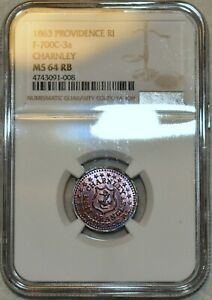 NGC MS-64 RB 1863 Charnley Providence, RI Civil War Token, F-700C-3a!