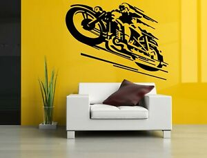 Wall Sticker Motorcycle Bike Race Wheels Speed Vinyl Mural Decal Decor ZX1015