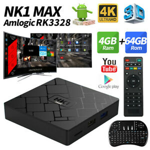 HK1 Max 4K 3D TV Box RK3228 4+3264G Dual WiFi Android 8.1 Home Media Streamers
