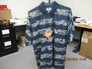 NWT CUTTER & BUCK MEN'S QUICK DRY GOLF POLO--NAVY FLORAL--LARGE