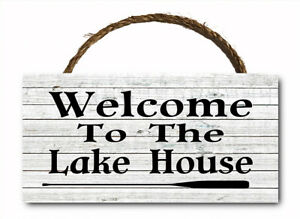 Welcome To The Lake House Hanging Wood Plaque Wall Sign WW 12x6