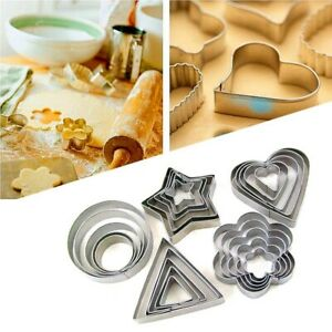 5Pcs Round Heart Star Shape Cookie Biscuit Pastry Cutter Baking Cake Decor Mold