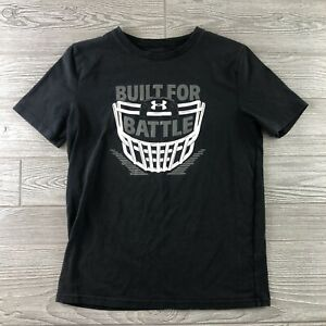 Under Armour Boys shirt YLarge  Black Built for Battle Football HeatGear (M193)