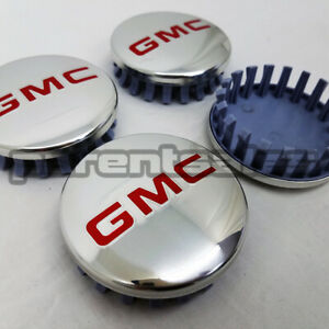 4 83mm 3.25 GMC style Center Caps Polished w Red 20 22 24 wheels long clip