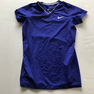 Nike Pro Combat Fitted Blue Purple Short Sleeve Shirt Size Small A84