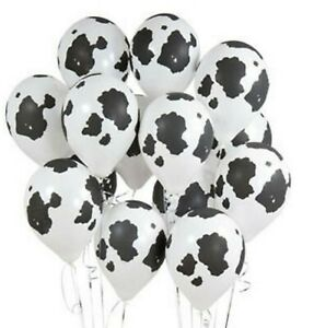 12 PACK Cow Print Balloons 12quot; Farm Party Decorating Barnyard Theme heifer Black