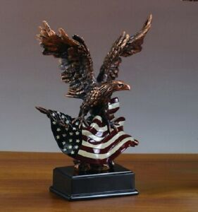 New Large Eagle with American Flag Bronze Finish Sculpture Statue Patriotic Gift