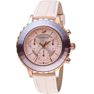 Swarovski 5452501 Pink Leather Strap Rose-gold tone PVD Chrono Women's Watch